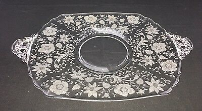 Cambridge WILDFLOWER Etched Clear Glass Two Handled Rectangular Platter Tray