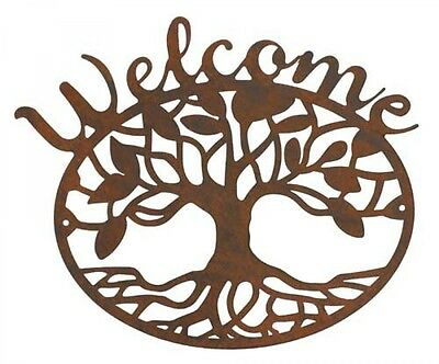Country Tin Sign Vintage Inspired Wall Art RUSTED WELCOME TREE Retro Plaque NEW