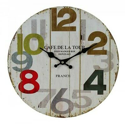 Clock Country Vintage Inspired Wall Clocks 34CM CAFE LARGE NUMBERS New Time