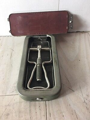 Vintage Rolls Viscount Straight Safety Razor Hone Strop Aluminum Case Sheffield