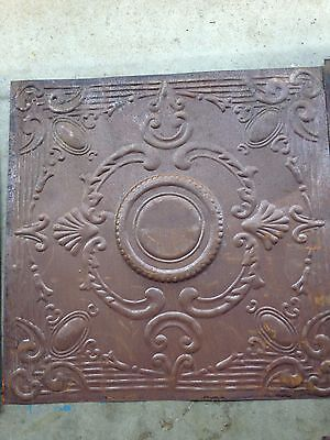 Lot of 5 Metal ceiling tile, faux antique, 24x24, rusted steel/faux patina