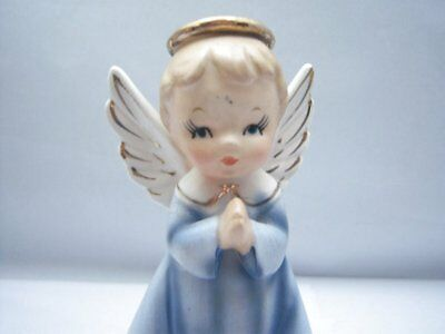 Vintage Arnart Japan Praying Blue Angel Catholic Holy Water Font Wall Pocket Cer