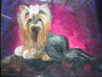 OOAK Yorkshire Terrier Wool Art Wall Hanging Textile Art Wool  Painting 11 x 14