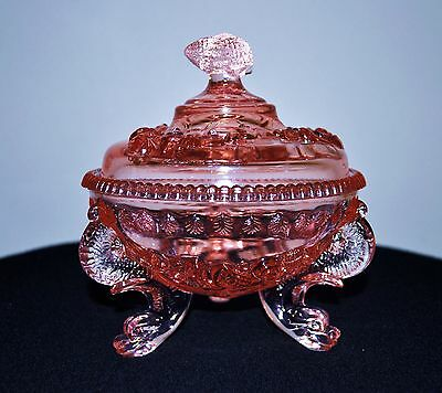 Vintage Westmoreland Glass Pink Argonaut Dolphin Footed Candy Dish