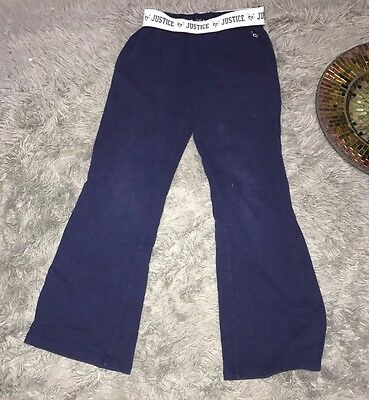 Justice Girls Blue Sweat Pants Size 10 Blue Fold Over