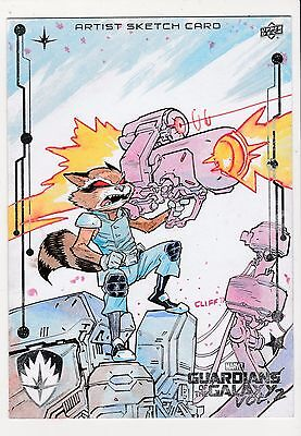 2017 Upper Deck Guardians of the Galaxy Vol. 2 5x7 Sketch Rocket Cliff Rathburn
