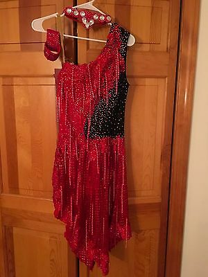 NEW Latin Ballroom dress Red and Black size M /8