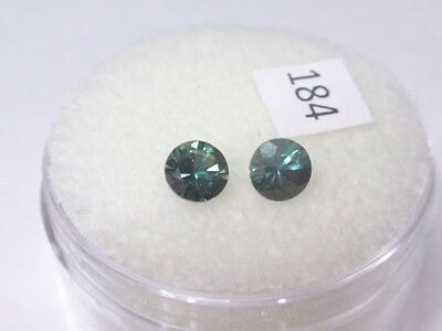 Natural Australian Sapphires Pair of 2 x 4mm round, total of .68 cts. ID #184