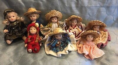 "Miniature Porcelain Dolls With Hats 3""-4 1/2"""