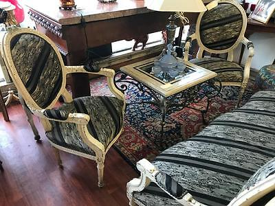 Pair Of Victorian Carved French Louis Style Cream Painted Fauteuil Armchairs
