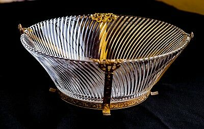 Antique Ormolu Mount Crystal Glass Bowl