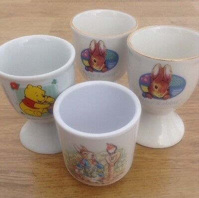 Collection Of 4 Children's Character Egg Cups - Eggsellent Condition!