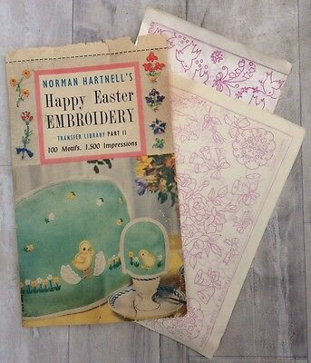 Vtg 50s 60s Norman Hartwell Embroidery Transfers x2 Bunnies Lambs Wedding Chicks