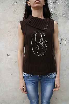 Conte of Florence Women Wool Brown Knitted Waistcoat Gilet Jumper M Gliittered