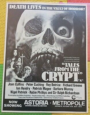 TALES FROM THE CRYPT amicus Peter Cushing Original 1972 Ad Poster