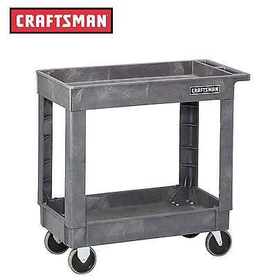 "Craftsman 34-1/2"" 2-Shelf Heavy-Duty Plastic Utility Cart Free Shipping"