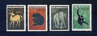 timbres vietnam du nord n°216 a 219 1961 neufs animaux