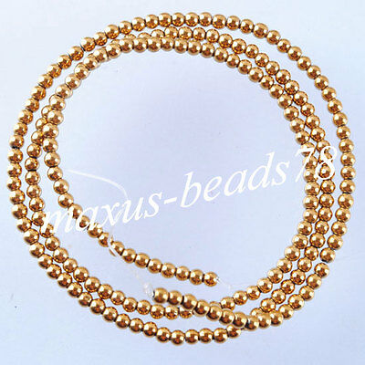 "Free shipping 2mm Gold Hematite Gemstones Round Loose Beads 15.5"" Strand MG1010"