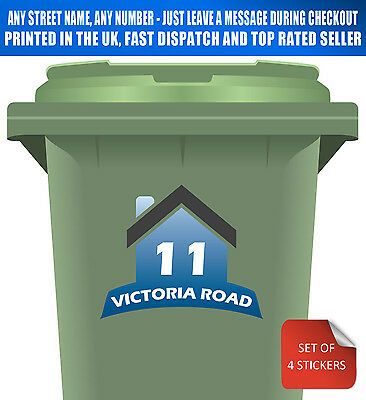 Wheelie Bin Numbers Stickers Personalised Custom Street Name & Number Pack of 4