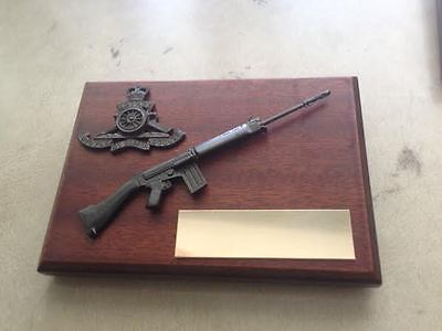 any regiment, 7.62 SLR with any regiment cap badge + engraving.