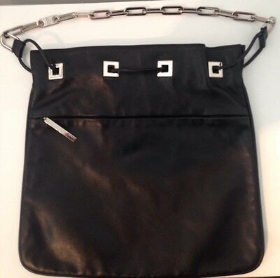 Authentic GUCCI Leather Handbag with Chain Link Shoulder