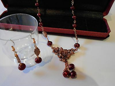 Handmade Burgundy Glass Pearls & Copper Pendant Necklace With Matching Earrings
