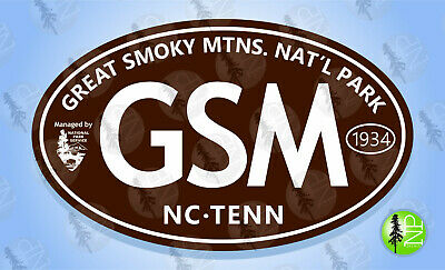 """GREAT SMOKY MOUNTAINS NAT'L PARK Oval Sticker Euro Travel Decal 3-5/8"""" x 6"""""""