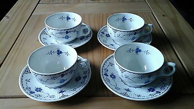 Furnivals English China Blue Denmark Cups and Saucers x 4