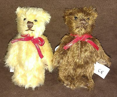 "2 x GUND MOHAIR COLLECTION MINIATURE TEDDY BEARS - 3"" - NEW WITH TAGS"