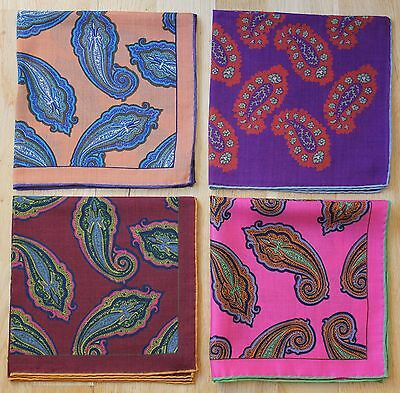 Paisley Wool & Silk Handkerchief / Neckerchiefs. Hand Rolled Edges New