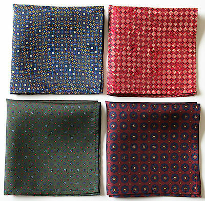 Hand printed Silk pocket square handkerchiefs 30cm. Assorted colours & patterns.