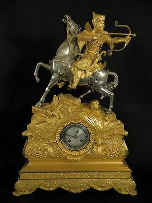 Antique French Gilt Bronze figural Clock Ottoman warrior on Horse ca 1840