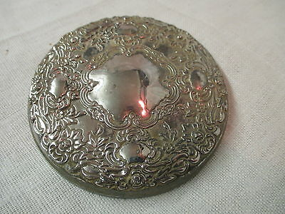 Vintage Silver plated Hand Mirror repousse floral design