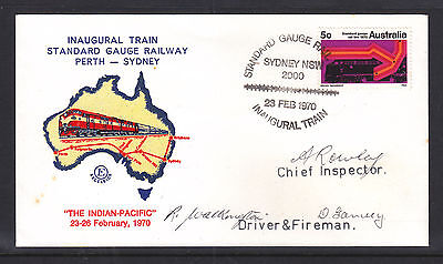 Fdc: Standard Gauge Railway Perth To Sydney Signed By Every Boddy!!!
