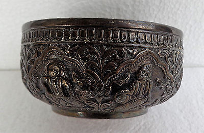 Burmese or Thai old repousse silver bowl - black patina