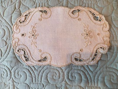 Vintage Beige Linen Embroidered Small Doily/ Tray Liner With Cutwork