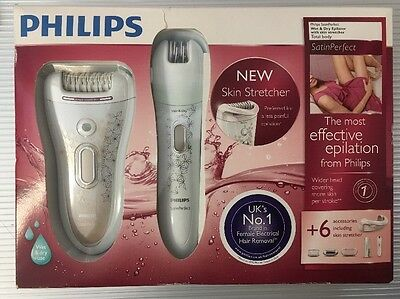 Philips SatinPerfect Wet & Dry Epilator, With 6 skin Accessories HP6581/03 (NEW)