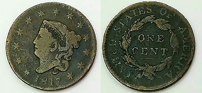 1817 Large Cent Early United States Penny Coronet Head