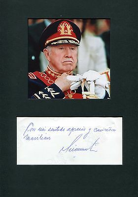 Augusto Pinochet (+) CHILE autograph, handwritten note signed & mounted