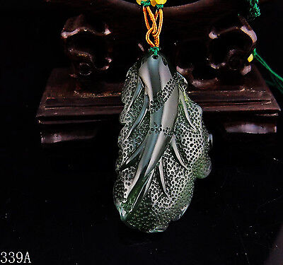 100% Natural 3D Hand-carved Chinese Icy Jade Pendant jadeite Necklace leaf 339a