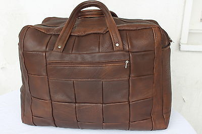 VINTAGE Echt LEDER Reisetasche Braun Tasche Weekender LEATHER Travel Bag Sport *