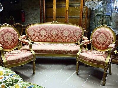 Antique French Louis XVI Giltwood Walnut Damask Sofa Arm Chairs Set
