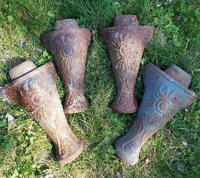 Antique cast iron tub legs feet set of 4 sunflower Starburst