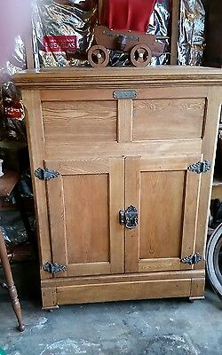 Antique OAK RAISED PANEL Icebox The Monarch # 78 1897  ICE BOX Oswego New York