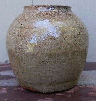 Early Antique Korean Stoneware Pottery Ginger Jar