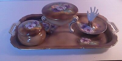 Exceptional old hand painted 4 pc dresser set, vanity tray, Mrked Noritake Japan