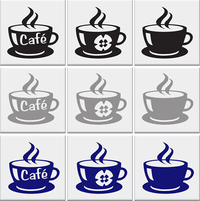 COFFEE CUP Tile Stickers Kitchen Sticker Cups Vinyl Wall Art Transfer Decal AD50