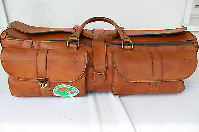 DUNLOP Echt LEDER Reisetasche Cognac Tasche Weekender LEATHER Travel Bag Sport