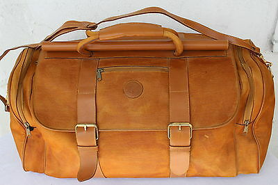 VINTAGE Echt LEDER Reisetasche Braun Tasche Weekender LEATHER Travel Bag Sport ,