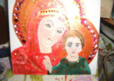 Oracles message of the Holy Mother Mary and a hand painted picture canvas